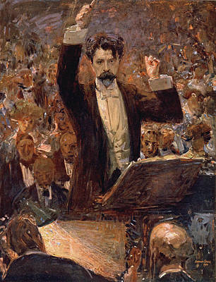 Arthur Nikisch Conducting A Concert At The Gewandhaus In Leipzig Poster by Robert Sterl