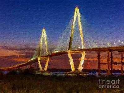Arthur Ravenel Bridge At Evening  Poster by Anthony Fishburne