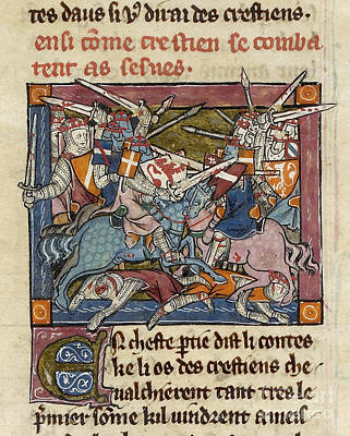 Arthurian Knights In Battle Poster by British Library