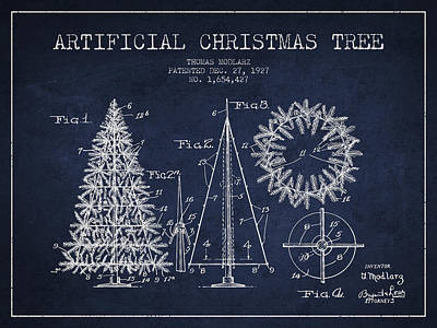 Artifical Christmas Tree Patent From 1927 - Navy Blue Poster by Aged Pixel