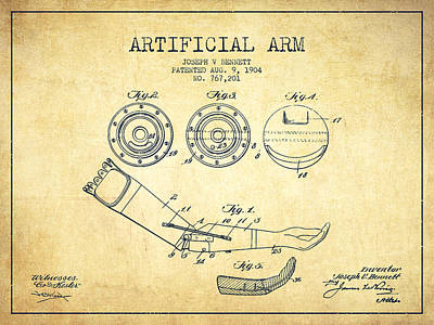 Artificial Arm Patent From 1904 - Vintage Poster