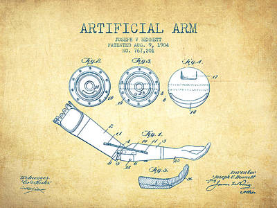 Artificial Arm Patent From 1904 - Vintage Paper Poster by Aged Pixel