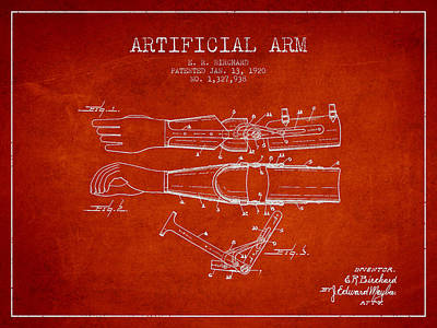 Artificial Arm Patent From 1920 - Red Poster by Aged Pixel