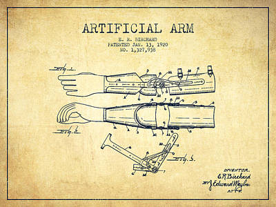 Artificial Arm Patent From 1920 - Vintage Poster by Aged Pixel
