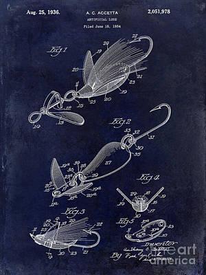 1936 Artificial Bait Patent Drawing Blue Poster by Jon Neidert