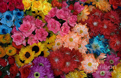 Artificial Flowers At An Acapulco Market Poster
