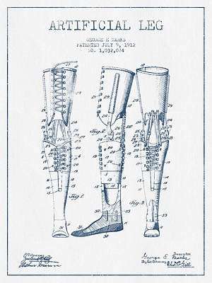 Artificial Leg Patent From 1912 - Blue Ink Poster by Aged Pixel