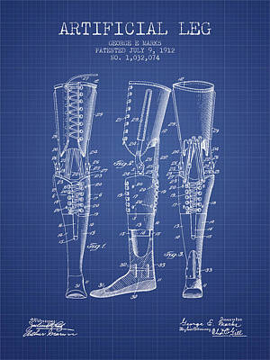 Artificial Leg Patent From 1912 - Blueprint Poster by Aged Pixel