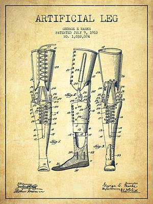 Artificial Leg Patent From 1912 - Vintage Poster