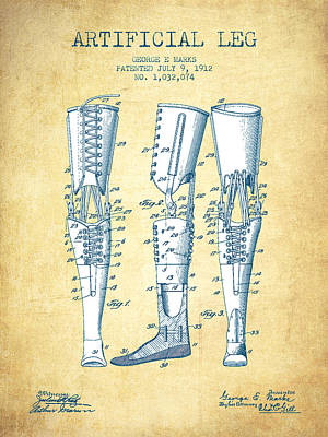Artificial Leg Patent From 1912 - Vintage Paper Poster by Aged Pixel