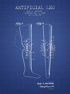 Artificial Leg Patent From 1955 - Blueprint Poster by Aged Pixel