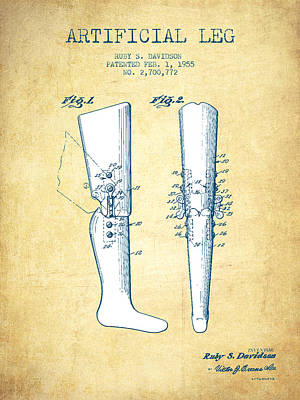 Artificial Leg Patent From 1955 - Vintage Paper Poster by Aged Pixel