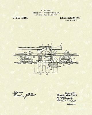 Artillery Mount 1919 Patent Art Poster