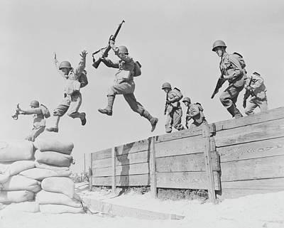 Artillerymen Take A Running Leap Poster by Stocktrek Images