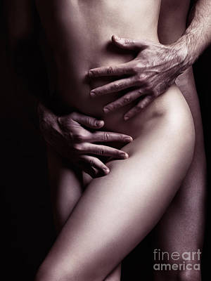 Artistic Closeup Sexy Nude Couple Embracing Poster