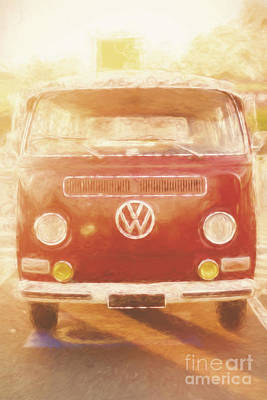Artistic Digital Drawing Of A Vw Combie Campervan Poster by Jorgo Photography - Wall Art Gallery