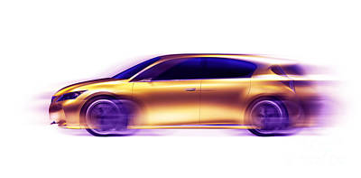 Artistic Dynamic Image Of Moving Blurred Car Poster