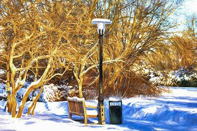 Artistic Painterly Street Light And Bench  Poster