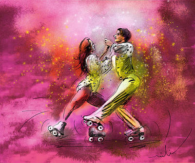 Artistic Roller Skating 01 Poster by Miki De Goodaboom