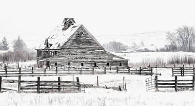 Artistic Winter Barn Poster by Mary Jo Allen