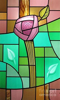 Poster featuring the glass art Arts And Crafts Rose by Gilroy Stained Glass