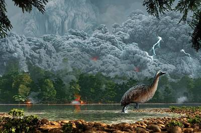 Artwork Of A Pyroclastic Flow Poster by Mark Garlick