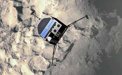 Artwork Of Philae Approaching Comet 67p Poster