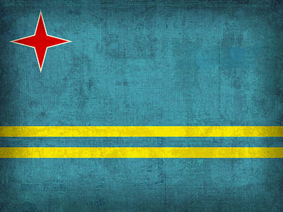 Aruba Flag Vintage Distressed Finish Poster