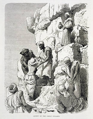Ascent Of The Great Pyramid, 19th Century Engraving On Paper Poster