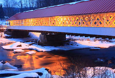 Ashuelot Covered Bridge Winter Reflection Poster by John Burk