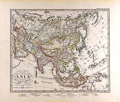 Asia Map Gotha Justus Perthes 1872 Atlas Poster by English School