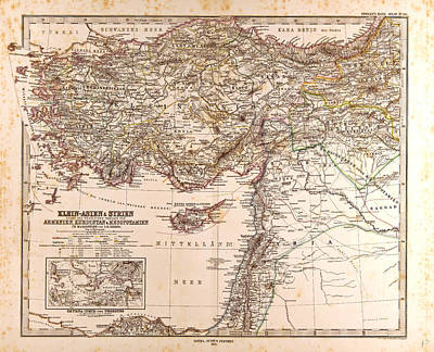 Asia Minor Syria Map Gotha Justus Perthes 1873 Atlas Poster by English School