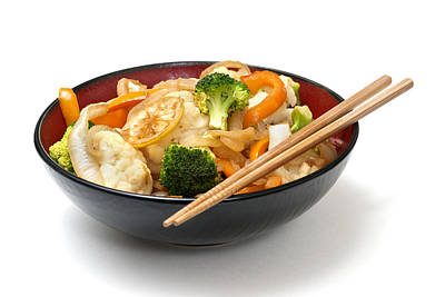 Asian Cauliflower Broccoli Stir Fry Poster by Donald  Erickson