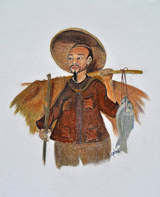 Asian Fisherman Poster by Danae McKillop