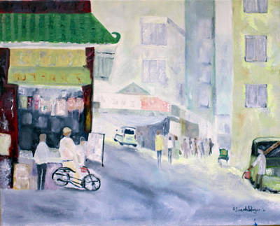 Poster featuring the painting Asian Street Traffic by Aleezah Selinger