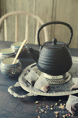 Poster featuring the photograph Asian Teapot With Cups And Herbal Bags Of Tea by Sandra Cunningham