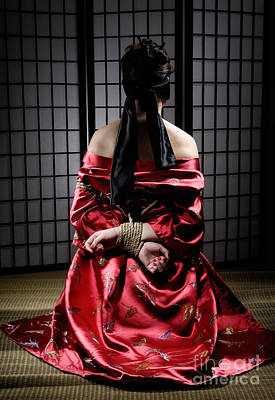 Asian Woman With Her Hands Tied Behind Her Back Poster