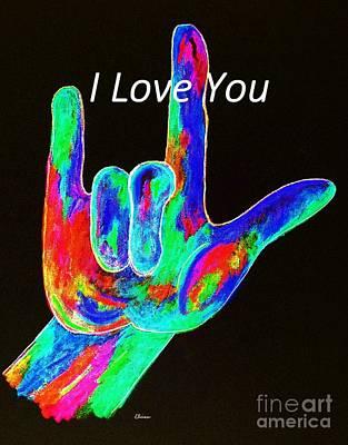 Asl I Love You On Black Poster by Eloise Schneider