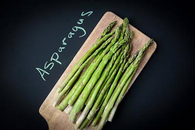 Asparagus Written On A Chalkboard Poster by Brandon Bourdages