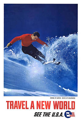 Aspen Colorado Skiing Poster by David Wagner