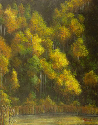 Aspens And Cattails Poster by Jack Malloch