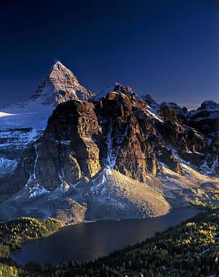 Assiniboine And Sunburst Peak At Sunset Poster