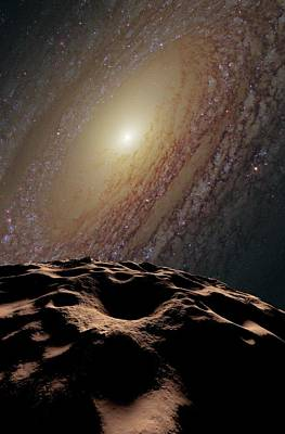 Asteroid And Galaxy Poster by Detlev Van Ravenswaay