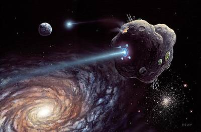 Asteroid Ark Starship Poster by Richard Bizley