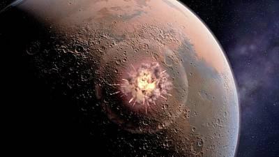 Asteroid Impact On Mars Poster by Joe Tucciarone
