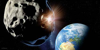 Asteroids Colliding Near Earth Poster