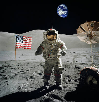 Astronaut On The Lunar Surface Earth On The Background Poster by Celestial Images