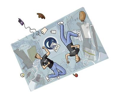 Astronauts Fighting, Artwork Poster