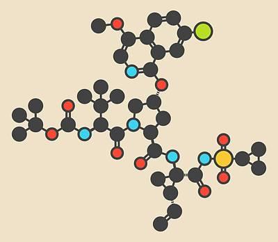 Asunaprevir Hepatitis C Drug Molecule Poster by Molekuul