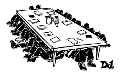 At A Conference Table Poster by Drew Dernavich